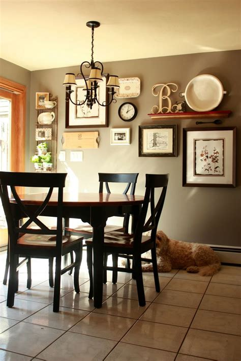 kitchen dining room decorating ideas gallery wall but change put shelf in middle and pictures on the side or shelf with pics below