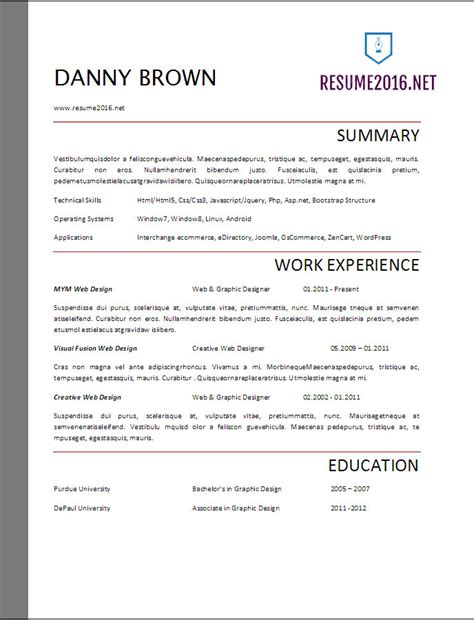 Resume Format 2017 20 Free Word Templates It Resume Template 2017