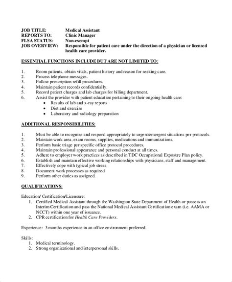 Dental Assistant Resume Sles by Clinic Assistant Duties 28 Images Description