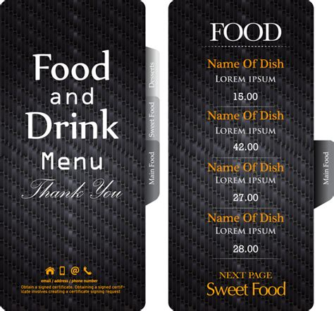 Restaurant Menu Card Designs Free Vector Download 14 256 Free Vector For Commercial Use Black Menu Template