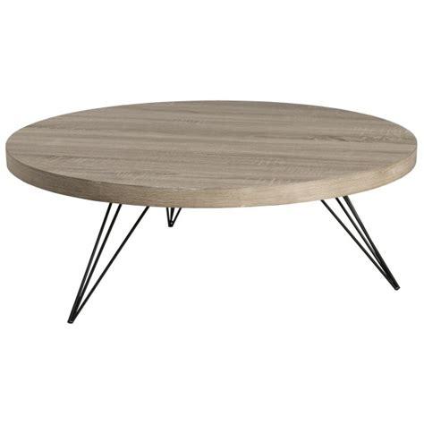 Table basse ronde rétro bois et pieds métal noir en