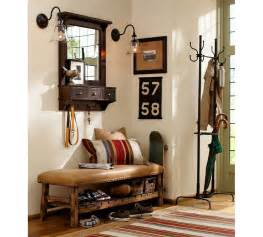 marvelous How To Decorate A Foyer In A Home #9: vintage-entryway-furniture-design-with-wall-mounted-mirror-with-lamp-and-drawer-plus-brown-leather-bench-seat-and-shoe-storage-beside-umbrella-stand-combined-with-clothing-hooks-ideas.jpg