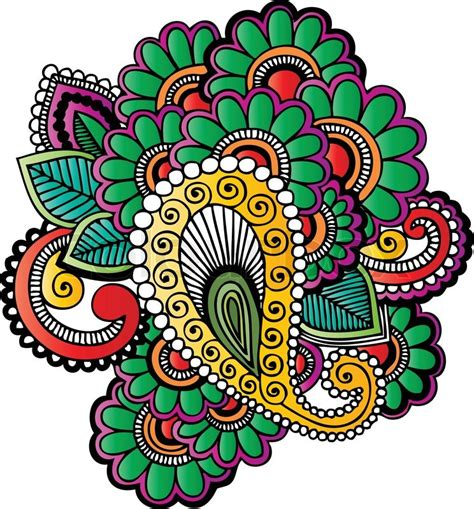 indian inspired tattoo designs indian style henna stock vector colourbox