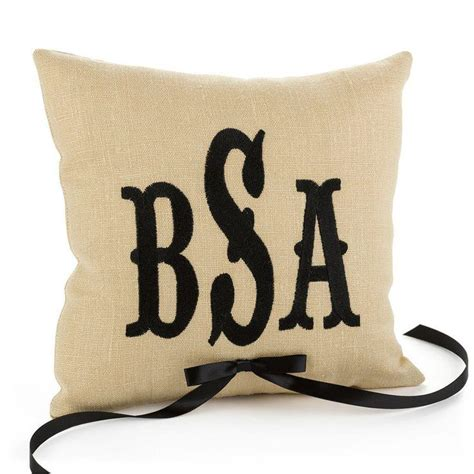 Personalized Ring Bearer Pillows by Custom Embroidery Color Monogram Personalized Linen Ring