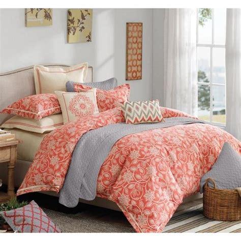 portico coral orange floral comforter set