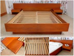 Low Platform Bed Diy Teak Platform Bed With Floating Nightstands A Photo On