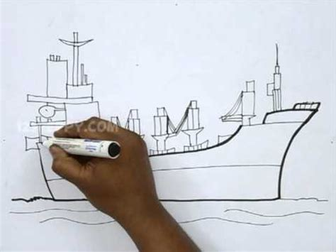 how to draw a cargo boat how to draw a cargo ship youtube