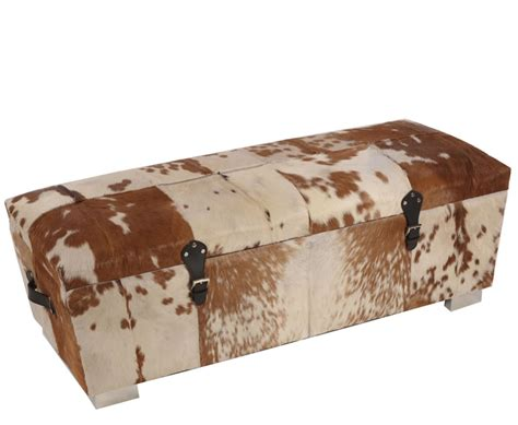 Bette Brown Natural Cowhide Storage Ottoman Cowhide Ottoman