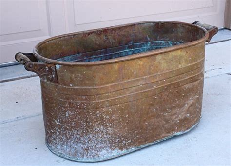antique copper bathtub antique copper boiler wash tub laundry bucket with wooden