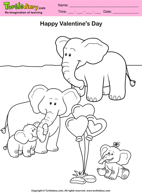 elephant valentine coloring pages elephants valentine day coloring sheet turtle diary
