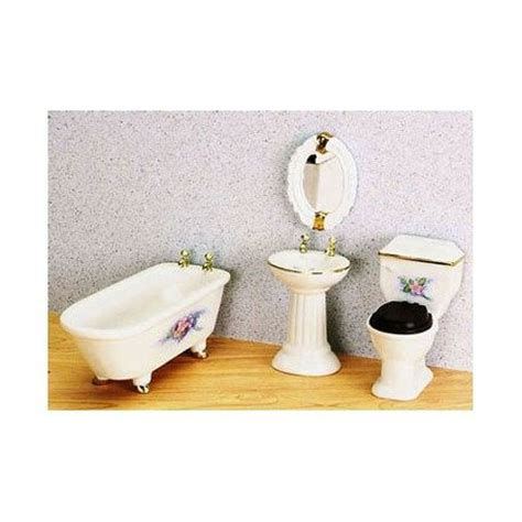 dollhouse bathroom set bathroom set 4pc w flowers dollhouse bathroom sets
