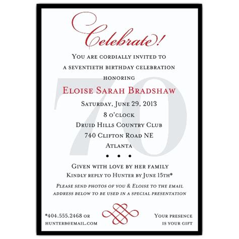 wording 70th birthday invitations classic 70th birthday celebrate invitations paperstyle