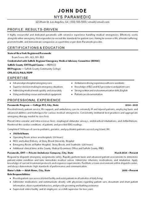 Resume Builder Emt Emt Paramedic Resume Exle Resume And Paramedics
