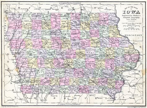 iowa maps 1886 butler s iowa map ames historical society