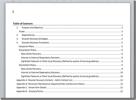 templates for word documents a microsoft word document template for disaster recovery