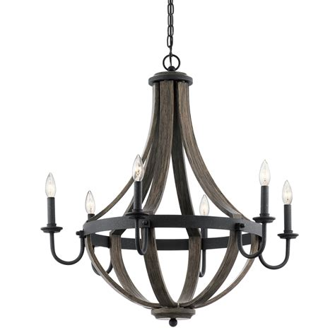And Wood Chandelier Shop Kichler Merlot 30 In 6 Light Distressed Black And