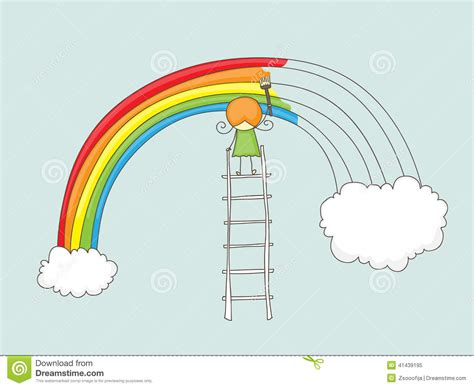 rainbow doodle drawing painting rainbow stock vector illustration of small