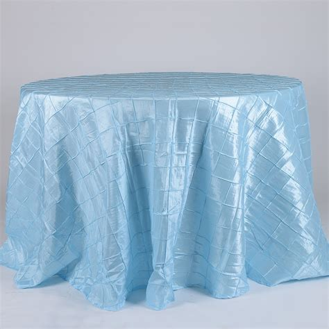 Light Blue 132 Inch Pintuck Satin Tablecloth