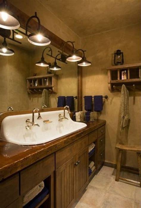 wood bathroom light fixtures rustic pine bathroom vanities brown marble tiles floor