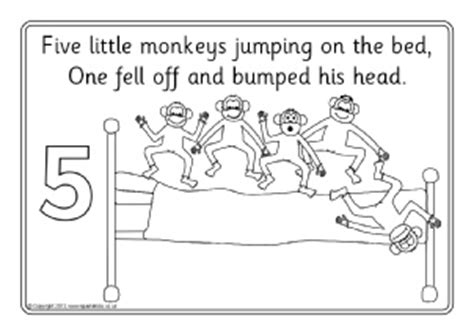5 monkeys jumping on the bed lyrics nursery rhyme colouring sheets coloring pages sparklebox