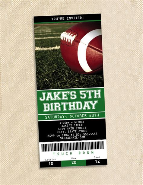 8 Best Images Of Football Ticket Templates Blank Printable Free Printable Football Birthday Soccer Ticket Invitation Template Free