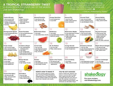 printable shakeology recipes shakeology shake flavors nutrition facts recipes and more