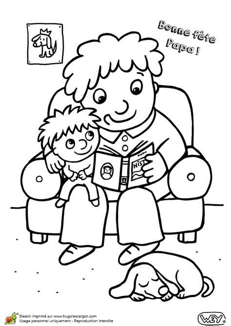 Coloriage lire un livre pour la fête des papas