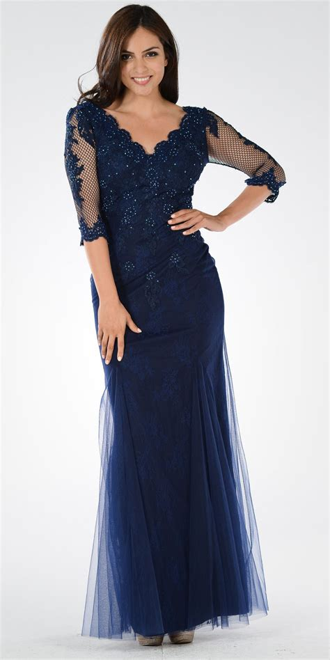 Vneck Mid Flare Dress mid sleeves lace v neck fit and flare evening gown navy