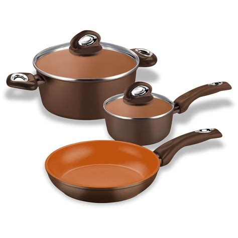 Pfoa Ptfe Free Ceramic Copper Cookware by 5pcs Cooking Evenly Forged Aluminum Non Stick Induction