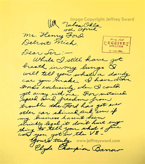 Letter Artifact Bonnie And Clyde Barrow Artifacts Photograph By