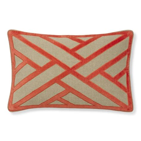applique on line line pattern velvet applique lumbar pillow cover coral