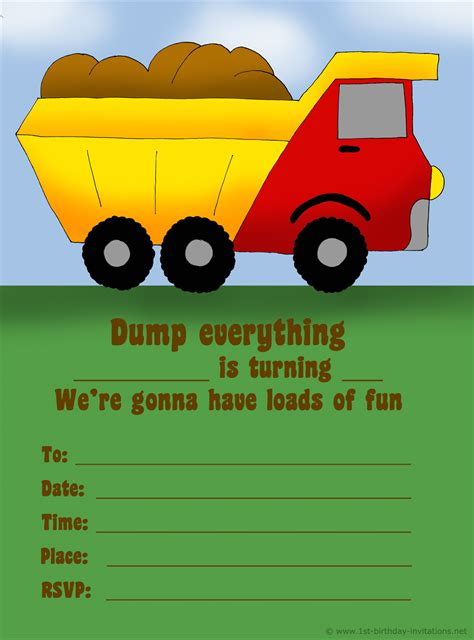truck invitation template 14 printable birthday invitations many themes 1st