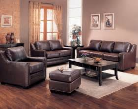 Leather Livingroom Set by Gibson Leather Living Room Set In Brown Sofas