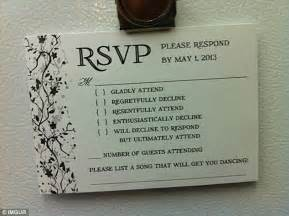 rsvp wedding invitation wording uk an australian sent the best wedding rsvp card daily mail