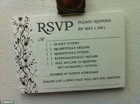 An Australian couple have sent the best wedding RSVP card