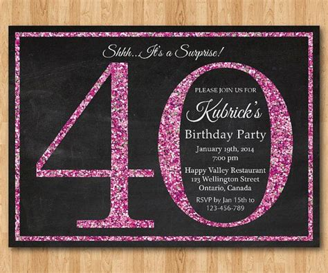 40th birthday invitation templates free 40th birthday invitation for pink glitter birthday