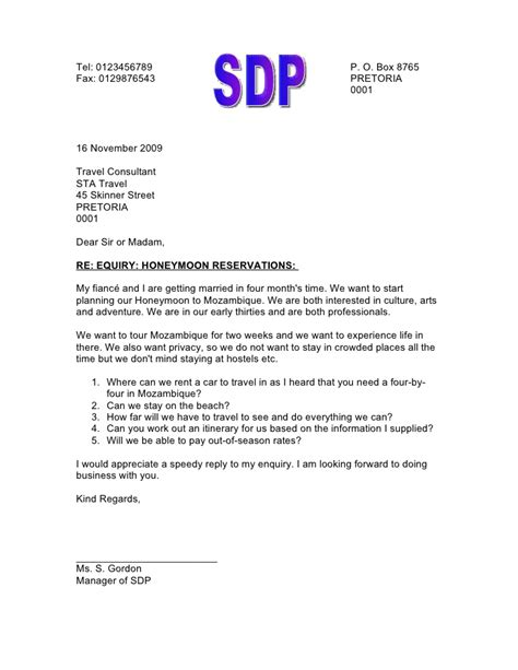 layout business letter enquiry letter of enquiry