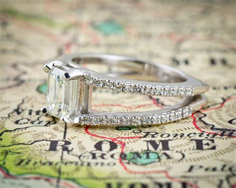 emerald cut split shank engagement ring arden jewelers