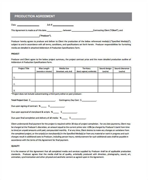 production contract 10 production contract templates sle exle free