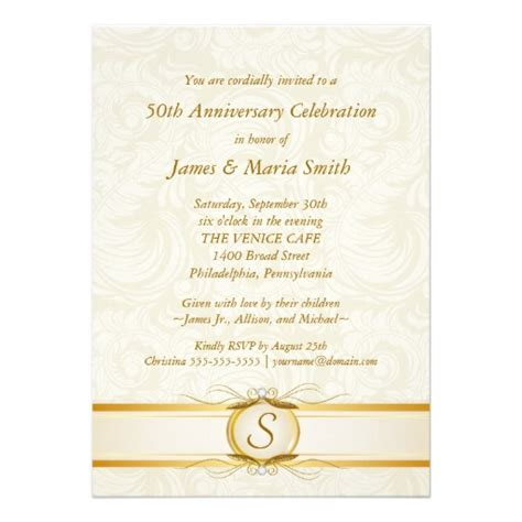 50th anniversary invitation wording in gold ivory damask 50th anniversary invitation superdazzle custom invitations business cards