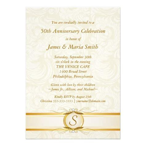 50th anniversary invitations city gold ivory damask 50th anniversary invitation