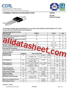 transistor lm7805 lm7805 datasheet pdf continental device india limited