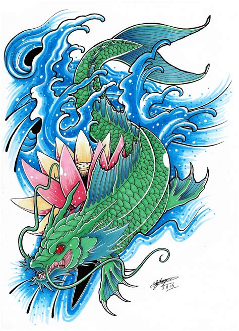 tattoo koi and dragon my koi dragon tattoo design coloured 3 by