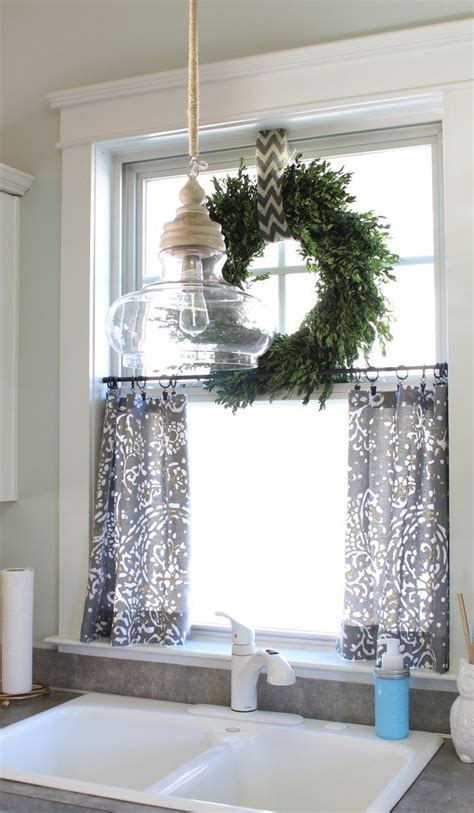 Window Curtain Decor Boxwood Wreath On Top Of Small Curtains For Kitchen Window To Look Into This For Mine