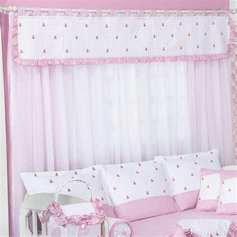 cortina de bebe cortina ursinhos luxo branco rosa essencial enxovais