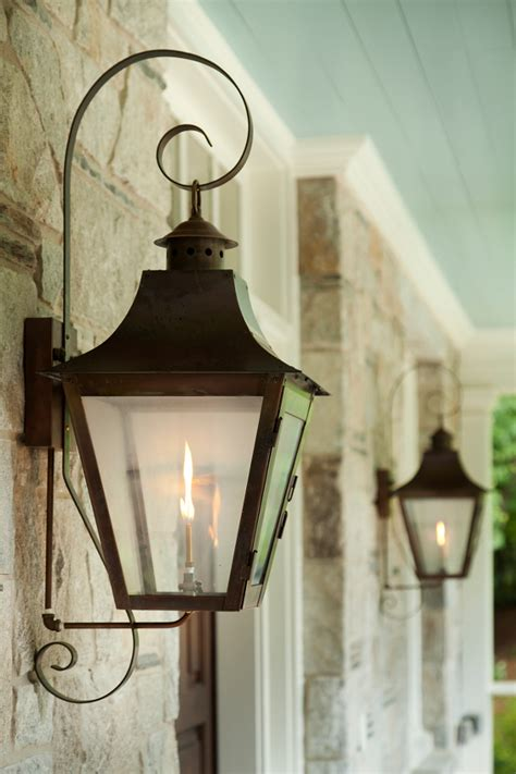 gas lantern outdoor lighting family home with timeless traditional interiors home
