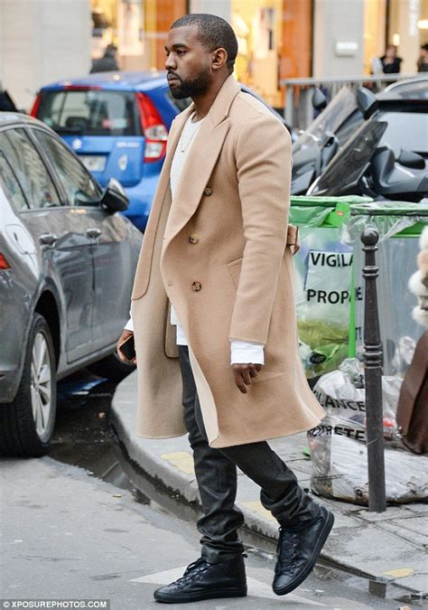 Light Blue Trench Coat Kanye West Wears Chic Camel Coloured Coat During Solo