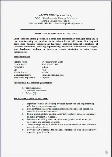 Accountant Resume Sample Pdf In India by Resume Blog Co Resume Sample Ca Amp Cma Cwa Having 18