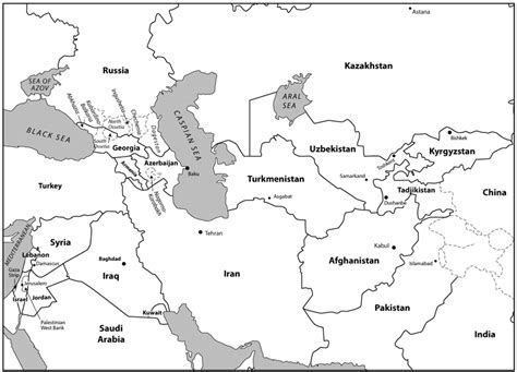 middle east map fill in the blank middle east and central asia map blank