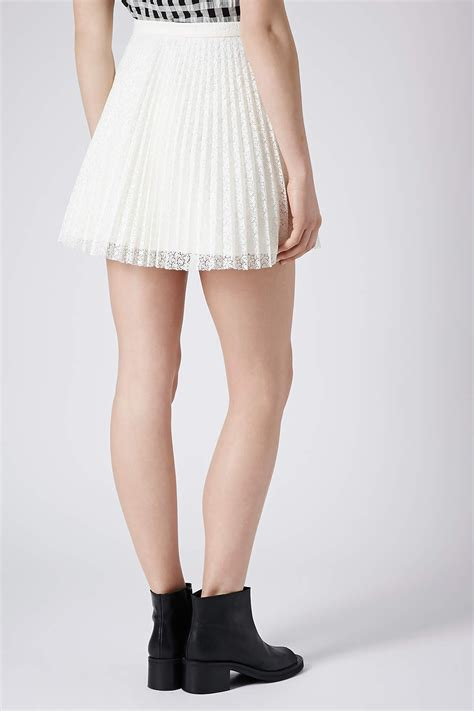topshop ivory lace pleat mini skirt in white lyst